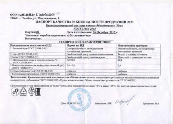 Разработка паспорта на товара